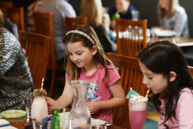 Children enjoying special kids drinks at The Homestead Restaurant